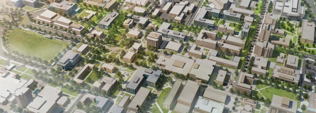 Digital rendering of the historic core of campus.
